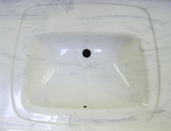 Custom recessed rectangular vanity sink