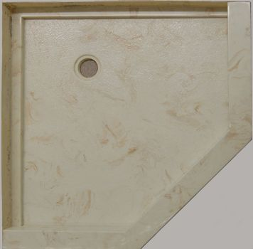 Cultured marble neo-angle shower base with tile block